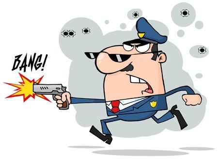 runing: Polic�a hombre corriendo con un arma y disparando Vectores