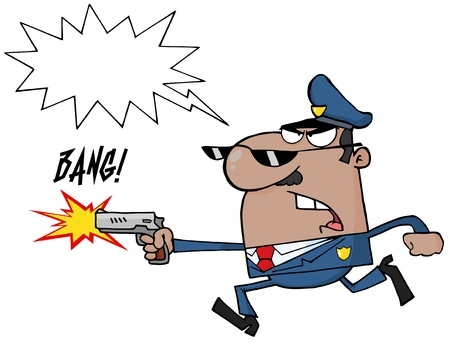 dangerous work: Angry African American Police Officer Running With A Gun