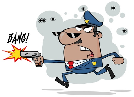 deputy: African American Police Man Running With A Gun Illustration