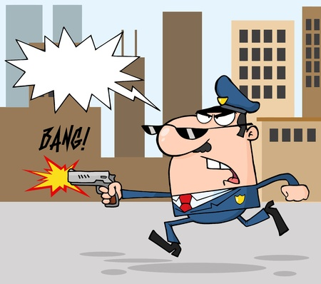 Police Officer Running With A Gun And Shooting Through A City Stock Vector - 12353058