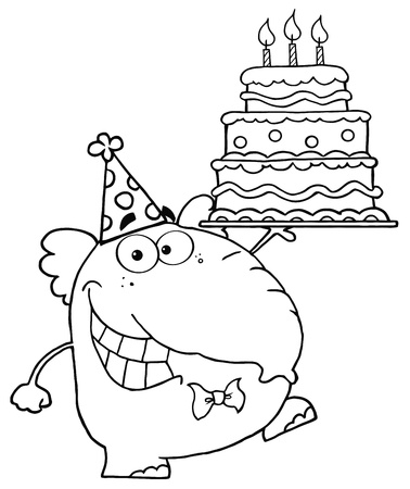 Outlined Cute Elephant Walking With Birthday Cake With Three Candles Vector