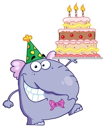 Elephant Carino Camminando con torta di compleanno con tre candele Archivio Fotografico - 12353067