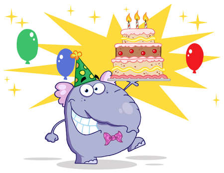Cute Elephant Walking With Birthday Cake And Balloons Stock Vector - 12353068