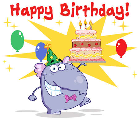 Greeting From  Elephant With Birthday Cake And Balloons Stock Vector - 12353072