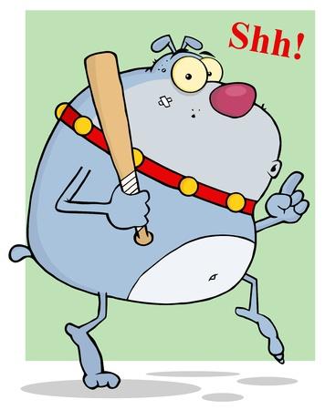 Sneaky Gray Bulldog Tip Toeing With Baseball Bat Vector