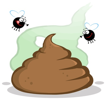 feces: Stinky Pile Of Poop With Two Flies