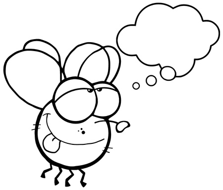 Outlined Fly Flying With Speech Bubble
