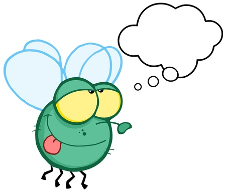 house fly: Green Fly Flying With Speech Bubble Illustration