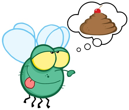 poo: Green Fly Flying and Dreaming About A Poop Cake Illustration