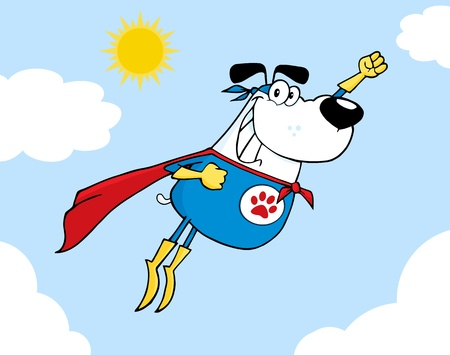 White Super Hero Dog Flying In Sky Stock Vector - 12493296