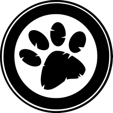 Black Paw Print Banner Stock Vector - 12493343