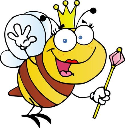 scepter: Queen Bee Cartoon Character Waving For Greeting