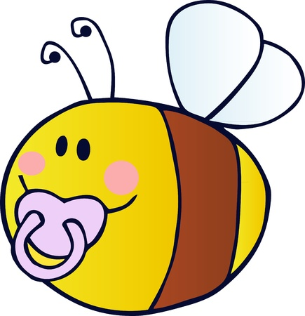Baby Bee Cartoon Character Vector