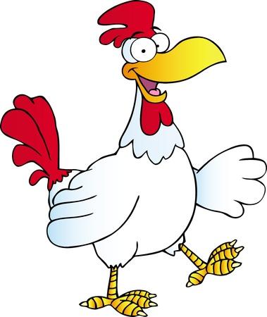 pollo caricatura: Gallo Feliz Caminar y Agitando