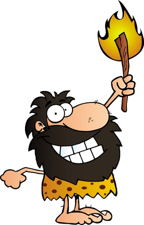 hunter: Happy Caveman Holding Up A Torch