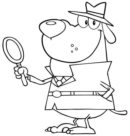 outlined isolated: El detective se indica perro sosteniendo una lupa Vectores