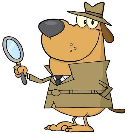 private investigator: Detective Dog Holding A Magnifying Glass