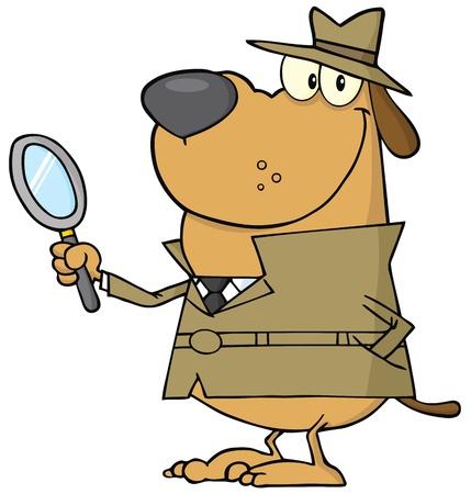 perro policia: Detective perro sosteniendo una lupa