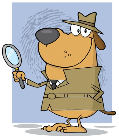 finding: Detective Dog Holding A Magnifying Glass With Fingerprint Background