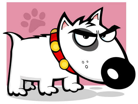 Angry Dog Bull Terrier With Paw Print Background Vector