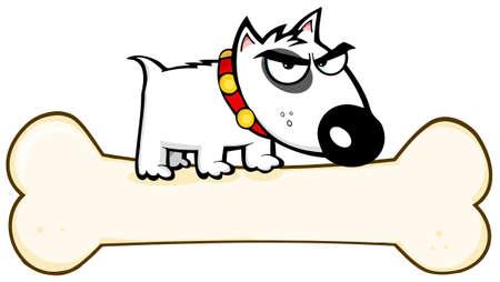 perro furioso: Angry Bull Dog Terrier Stepped On hueso grande