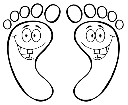 Outlined Happy Foot Print Cartoon Character Vector