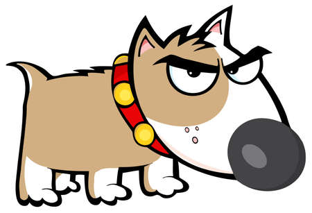 angry dog: Angry Brown Dog Bull Terrier Illustration