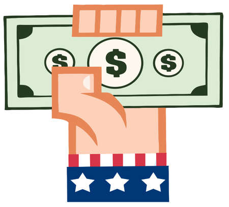 monetary: Hand With American Flag Holding Up A Cash