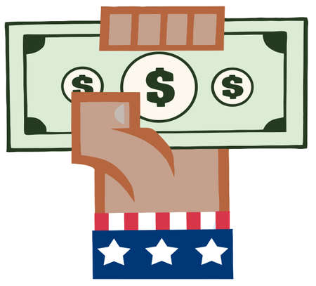 African American Hand In USA Flag Holding Up A Cash Vector