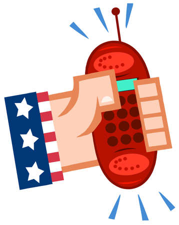 Hand In USA Flag Holding A Ringing Red Cell Phone Stock Vector - 12493426