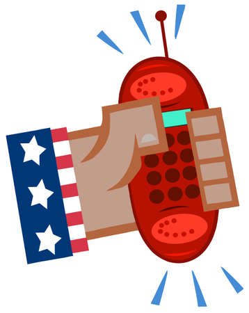 African American Hand In USA Flag Holding A Ringing Red Cell Phone Stock Vector - 12493425