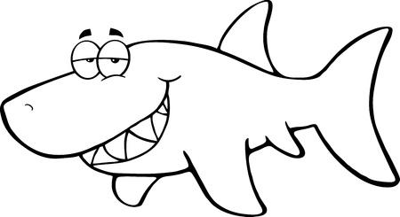 outlined isolated: Esbozo de tibur�n feliz de dibujos animados Vectores
