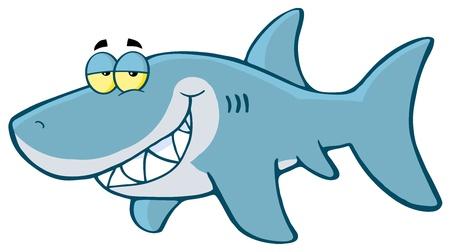 Feliz de dibujos animados Shark Ilustración de vector