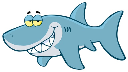 sea creatures: Happy Shark Cartoon Character