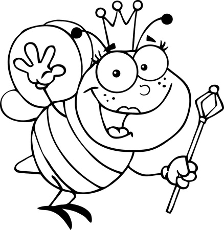 Outlined Queen Bee Cartoon Character Waving For Greeting Vector
