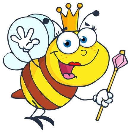 scettro: Regina Cartoon Character Bee Waving per salutare Vettoriali