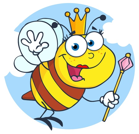 Happy Queen Bee Cartoon Character Vector