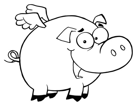 Outlined Pig Flying Cartoon Character Vectores