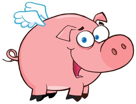cochinos: Flying Pig feliz de dibujos animados