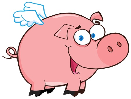 oink: Happy Pig Flying Cartoon Character Illustration