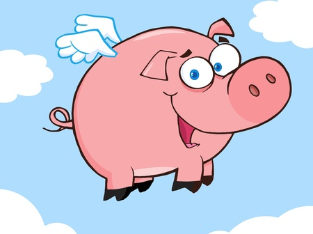 oink: Happy Pig Flying In A Sky