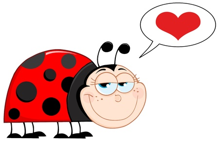 lady bird: Happy Ladybug Mascot Cartoon Character With Speech Bubble