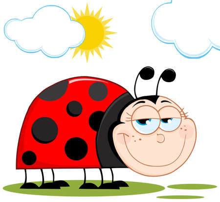 cartoon bug: Happy Ladybug In Garden Cartoon Character  Illustration