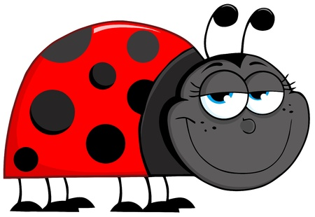 lady bird: Happy Ladybug Cartoon Character