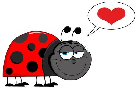 coccinellidae: Happy Ladybug Cartoon Character With Speech Bubble