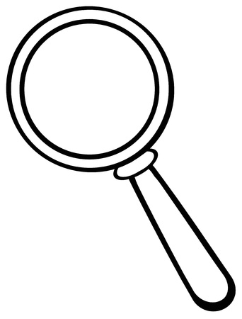 investigating: Outlined  Magnifying Glass Illustration