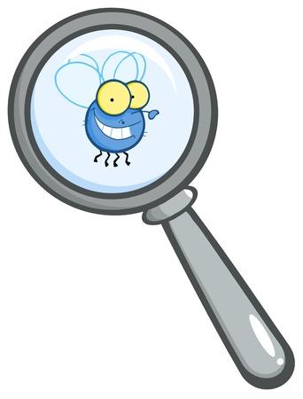 glass reflection: Magnifying Glass With Fly Illustration