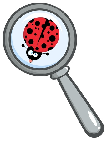 Magnifying Glass With Ladybug Sticking Its Tongue Out Ilustracja