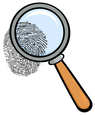 police cartoon: Magnifying Glass With Fingerprint