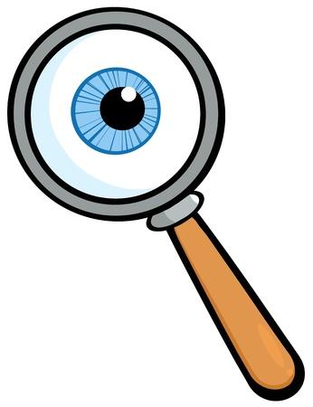 globo ocular: Lupa con la bola del ojo